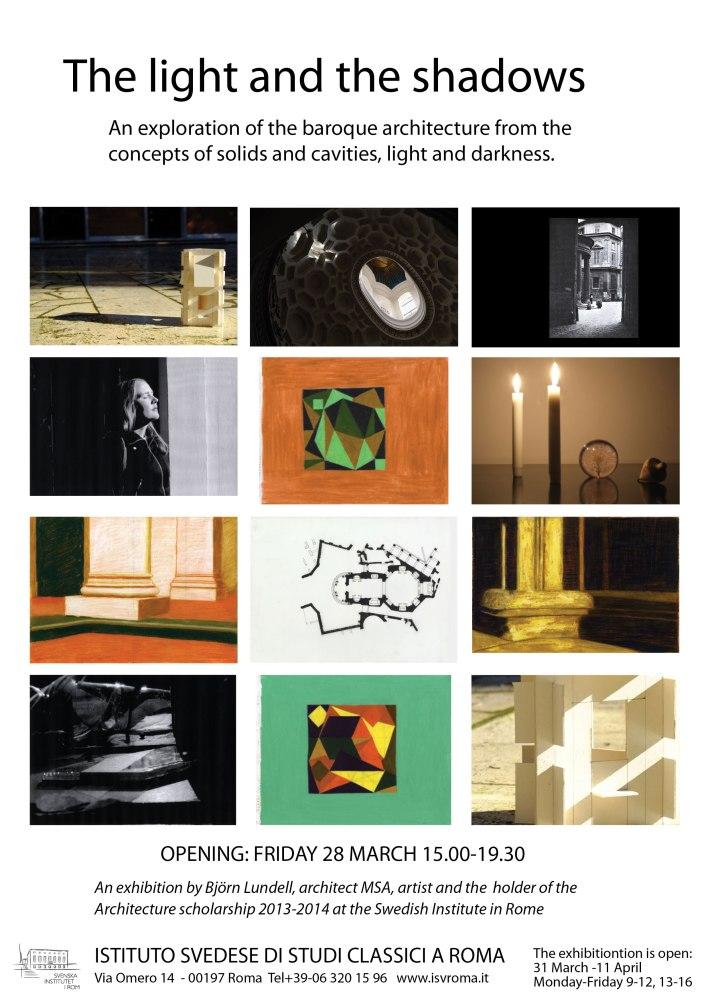 3. The-light-and-the-shadows, 2014, affich från utställning (på Svenska Institutet i Rom 2014)